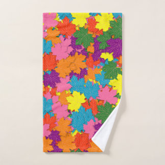 Colorful maple leaves pattern hand towel