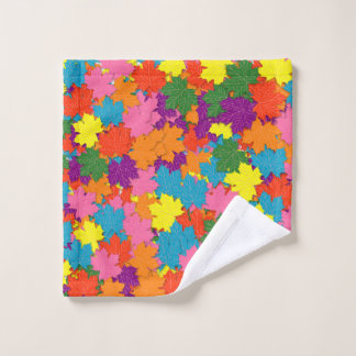 Colorful maple leaves pattern wash cloth