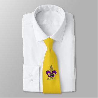 Colorful Mardi Gras Fleur De Lis on Yellow Tie