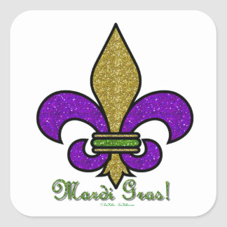 Colorful Mardi Gras Fleur De Lis Square Sticker