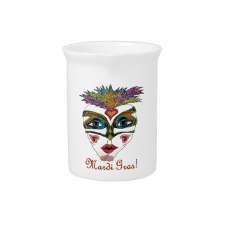 Colorful Mardi Gras Glitter Feather Mask Drink Pitcher