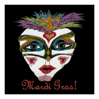 Colorful Mardi Gras Glitter Feather Mask Poster