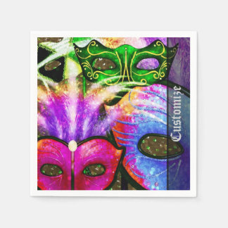 Colorful Mardi Gras Masks Napkins Disposable Napkins