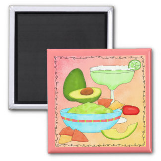 Colorful Margarita Guacamole Fun Celebrate Square Magnet