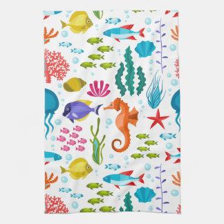 Colorful marine animals pattern tea towel