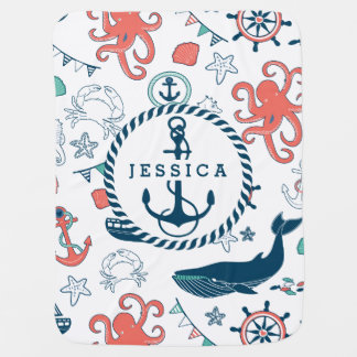 Colorful Marine Life & Nautical Boat Anchor Pram blanket