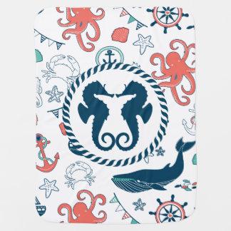 Colorful Marine Life & Nautical Seahorses Pramblanket