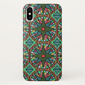 Colorful Mariner's Compass Quilt Pattern iPhone X Case