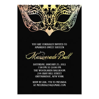 Colorful Mask Masquerade Invitations