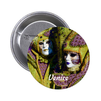Colorful Masked Couple in Venice, Italy 6 Cm Round Badge