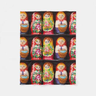 Colorful Matryoshka Dolls Fleece Blanket