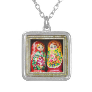 Colorful Matryoshka Dolls Silver Plated Necklace