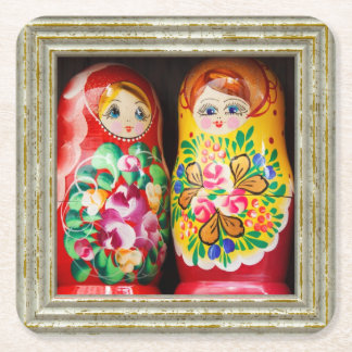 Colorful Matryoshka Dolls Square Paper Coaster