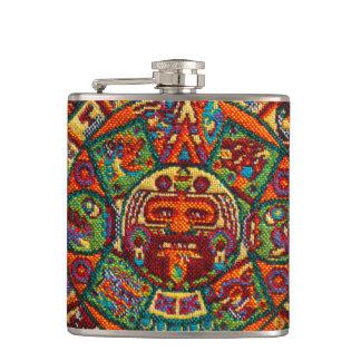 Colorful Mayan Calendar Hip Flask
