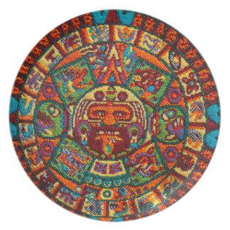 Colorful Mayan Calendar Plate