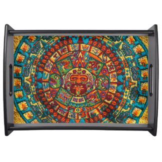 Colorful Mayan Calendar Serving Tray
