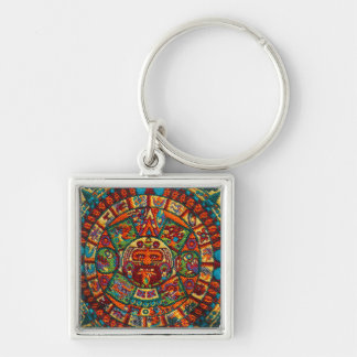 Colorful Mayan Calendar Silver-Colored Square Key Ring
