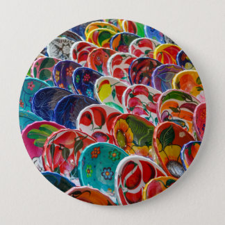Colorful Mayan Mexican Bowls 10 Cm Round Badge
