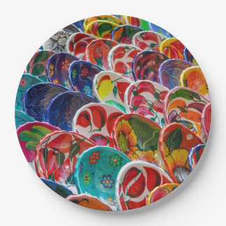 Colorful Mayan Mexican Bowls Paper Plate