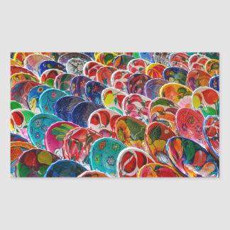 Colorful Mayan Mexican Bowls Rectangular Sticker