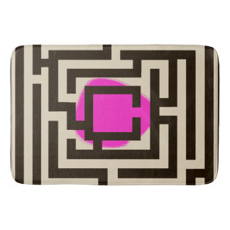 Colorful Maze Pattern on Custom Color Bath Mat