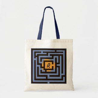Colorful Maze with Custom Monogram Orange Tote Bag