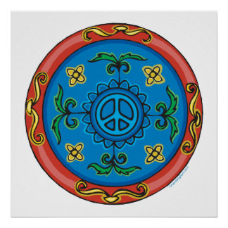 Colorful Medallion Design and Peace Sign
