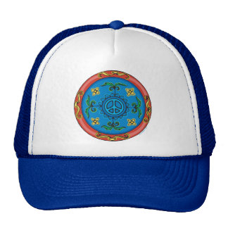 Colorful Medallion Design and Peace Sign Cap