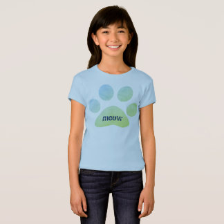 Colorful Meow Paw Print T-Shirt