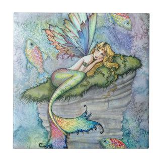 Colorful Mermaid and Carp Fish Fantasy Art Small Square Tile