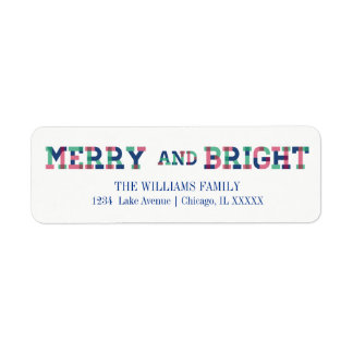 Colorful Merry And Bright Christmas Address Labels