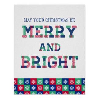 Colorful Merry And Bright Christmas Poster Sign