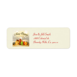 Colorful Merry Christmas Candle Decorations Return Address Label