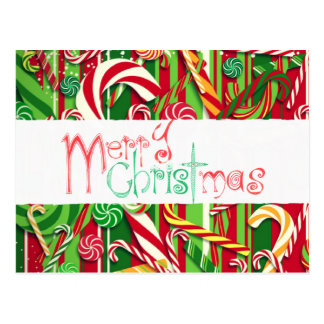 Colorful Merry Christmas Candy Postcard