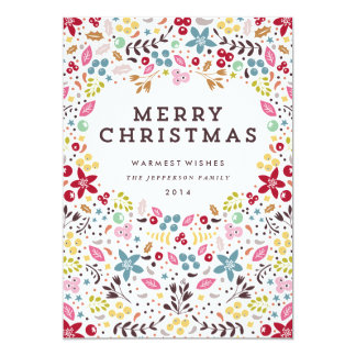 Colorful Merry Christmas Floral Card