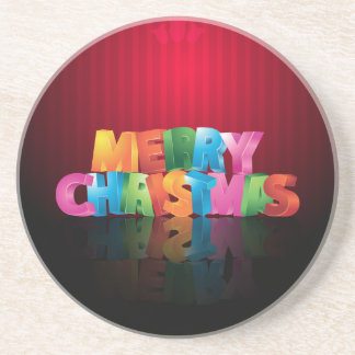 Colorful Merry Christmas greeting design Drink Coasters