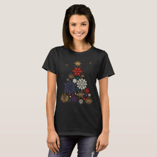 Colorful Merry Christmas Snowflake Tree festive T-Shirt