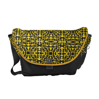Colorful Messenger with Pattern 11 (Black-Yellow) Messenger Bags