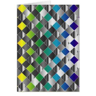 Colorful metal grid greeting card