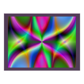 Colorful Metallic Fractal Lustre Poster