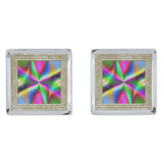 Colorful Metallic Fractal Lustre Silver Finish Cufflinks
