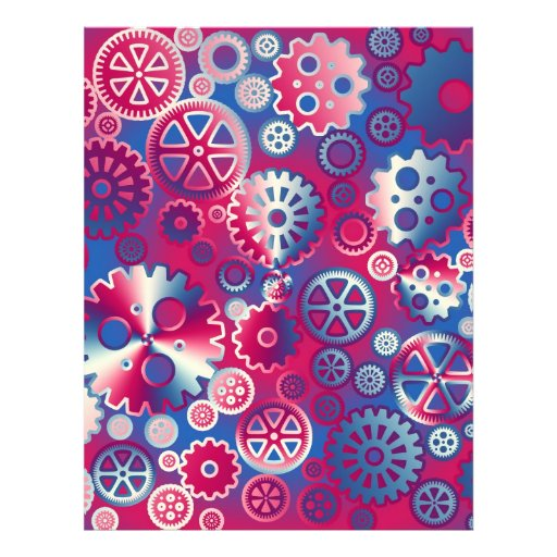 Colorful metallic gears flyers