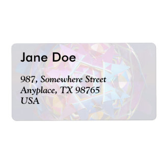 Colorful metallic orb shipping label