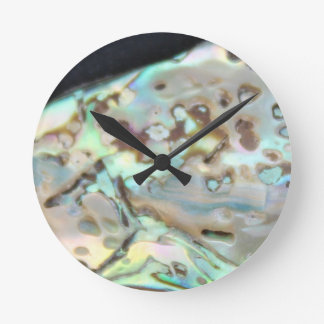 Colorful metallic stone on clock face