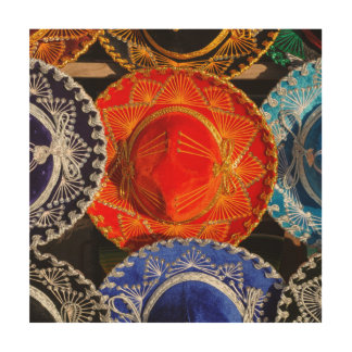 Colorful Mexican sombreros Wood Print