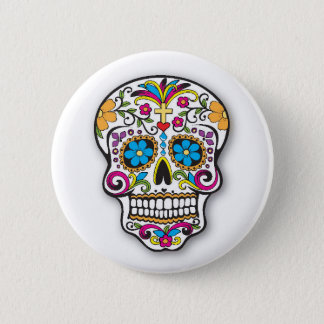 Colorful Mexican Sugar Skull Day of the Dead 6 Cm Round Badge