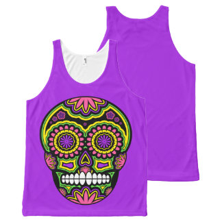 Colorful Mexican Sugar Skull Day Of The Dead All-Over Print Singlet