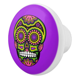 Colorful Mexican Sugar Skull Day Of The Dead Ceramic Knob