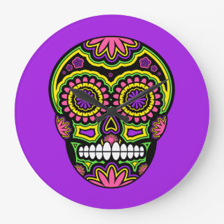 Colorful Mexican Sugar Skull Day Of The Dead Large Clock