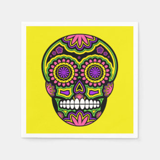 Colorful Mexican Sugar Skull Day Of The Dead Paper Napkins